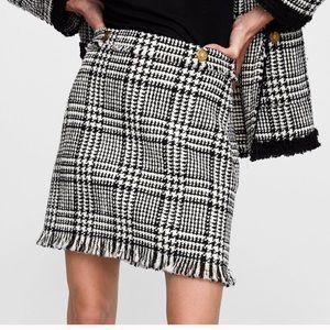 Zara Woman Plaid Tweed Mini Skirt